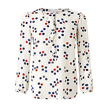 Buy Marella Bari Spot Print Silk Blouse, White Online at johnlewis.com