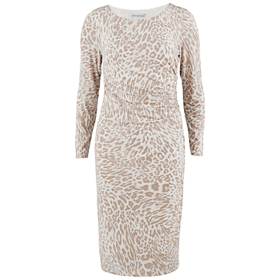 Gina Bacconi Animal Print Jersey Ruched Dress, Beige