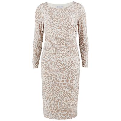 Gina Bacconi Animal Print Jersey Ruched Dress, Beige