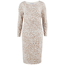 Buy Gina Bacconi Animal Print Jersey Ruched Dress, Beige Online at johnlewis.com