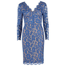 Buy Gina Bacconi Lace Dress With V-Neck And Long Sleeves Online at johnlewis.com