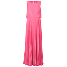 Buy Gina Bacconi Long Pleated Chiffon Dress, Pink Online at johnlewis.com