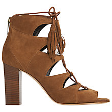 Buy L.K. Bennett Giulia Block Heeled Lace Up Sandals, Tobacco Suede Online at johnlewis.com