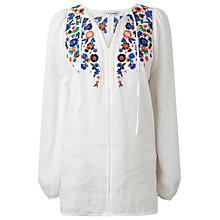 Buy L.K. Bennett Indra Embroidered Top, White Online at johnlewis.com