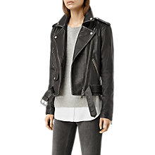 Buy AllSaints Agnes Leather Biker Jacket, Black Online at johnlewis.com