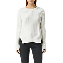Buy AllSaints Wick Ribbed Jumper, Chalk White Online at johnlewis.com