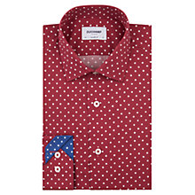 Buy Duchamp Painted Spot Tailored Fit Shirt, Burgundy Online at johnlewis.com