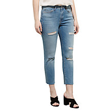 Buy Violeta by Mango Slim-fit Soraya Jeans, Open Blue Online at johnlewis.com