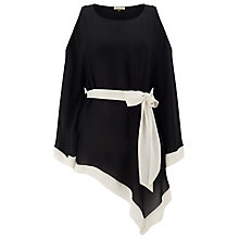 Buy Jacques Vert Cold Shoulder Belted Tunic Top, Black/Ivory Online at johnlewis.com