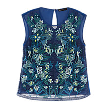 Buy Karen Millen Embroidered Lace Top, Blue/Multi Online at johnlewis.com