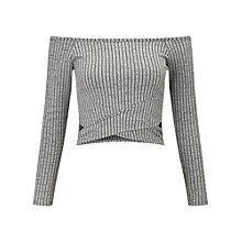 Buy Miss Selfridge Petite Rib Bardot Cut Out Top Online at johnlewis.com