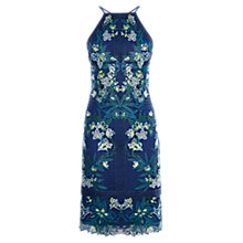 Buy Karen Millen Tropical Embroidered Lace Dress, Blue/Multi Online at johnlewis.com