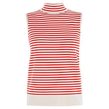 Buy Karen Millen Striped and Lattice Top, Red/Multi Online at johnlewis.com
