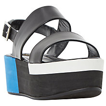 Buy Dune Black Lynx Platform Sandals, Black Leather Online at johnlewis.com