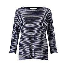Buy John Lewis Linen Drop Shoulder Stripe Top, Navy/White Online at johnlewis.com