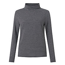 Buy John Lewis Roll Neck Stripe Jersey Top, Black/Grey Online at johnlewis.com