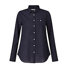 Buy John Lewis Pin Dot Print Shirt, Navy/White Online at johnlewis.com