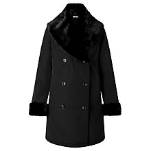 Buy John Lewis Faux Fur Trimmed Double Breasted Mac, Black Online at johnlewis.com