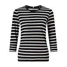Buy John Lewis Zip Back Stripe Top, Navy/White Online at johnlewis.com