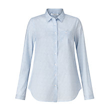 Buy John Lewis Stencil Floral Print Shirt, Pale Blue/White Online at johnlewis.com