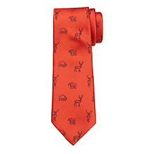 Buy John Lewis Boys' Moose and Bear Character Tie, Orange Online at johnlewis.com