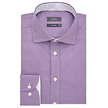 Buy John Lewis Luxury Puppytooth Tailored Fit Shirt, Berry/White Online at johnlewis.com