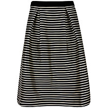 Buy Ted Baker Piery Striped Midi Skirt, Black Online at johnlewis.com