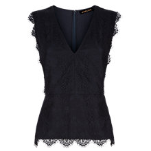 Buy Jaeger Scallop Lace Top, Midnight Online at johnlewis.com