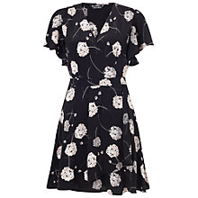 Buy Miss Selfridge Petite Blossom Wrap Dress, Black Online at johnlewis.com