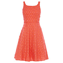 Buy Coast Dimitrina Daisy Textured Dress, Coral Online at johnlewis.com