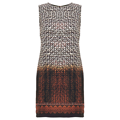 Urban Touch Ethnic Print Shift Dress, Brown