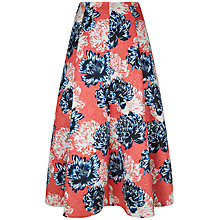 Buy Jaeger Peony Print Jacquard Skirt, Navy/Red Online at johnlewis.com