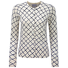 Buy Pure Collection Check Kylie Cashmere Printed Cardigan, Navy Check Online at johnlewis.com