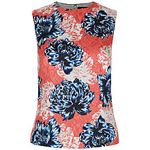 Buy Jaeger Peony Print Jacquard Top, Navy/Red Online at johnlewis.com