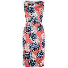 Buy Jaeger Peony Print Jacquard Dress, Navy/Red Online at johnlewis.com