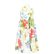 Buy Ted Baker Forget Me Not Floral Halterneck Dress, White Online at johnlewis.com