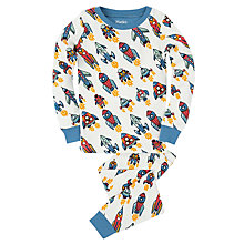Buy Hatley Boys' Retro Rocket Pyjamas, White Online at johnlewis.com
