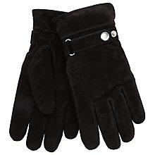 Buy John Lewis Adjustable Strap Suede Gloves, Black Online at johnlewis.com