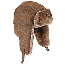 Buy John Lewis Large Check Trapper Hat, Brown Online at johnlewis.com