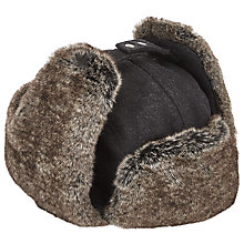 Buy John Lewis Melton Trapper Hat, Grey Online at johnlewis.com