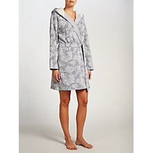 Buy John Lewis Rose Print Sherpa Robe, Grey Marl Online at johnlewis.com