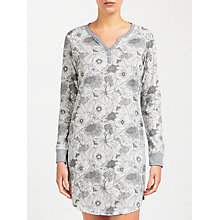Buy John Lewis Botanical Long Sleeve Nightdress, Grey Online at johnlewis.com