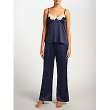 Buy John Lewis Spot Print Satin Camisole Pyjama Set, Navy/Ivory Online at johnlewis.com
