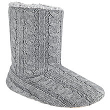 Buy John Lewis Cable Knit Boot Slippers, Grey Online at johnlewis.com