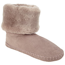 Buy John Lewis Faux Fur Turn Down Boot Slippers, Mink Online at johnlewis.com