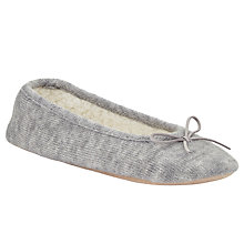 Buy John Lewis Knit Ballerina Slippers, Marl Grey Online at johnlewis.com