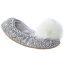 Buy John Lewis Fold Pom Pom Ballet Slippers, Cream Online at johnlewis.com