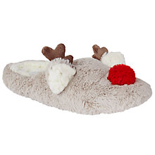 Buy John Lewis Reindeer Mule Slippers, Brown Online at johnlewis.com