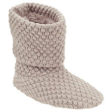 Buy John Lewis Popcorn Knit Boot Slippers, Natural Online at johnlewis.com