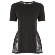 Buy Warehouse Lace Back Peplum Top, Black Online at johnlewis.com